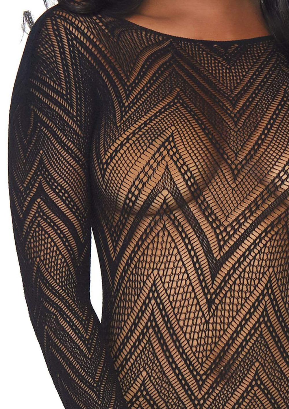 Fishnet Bodycon Dress - One Size - Black