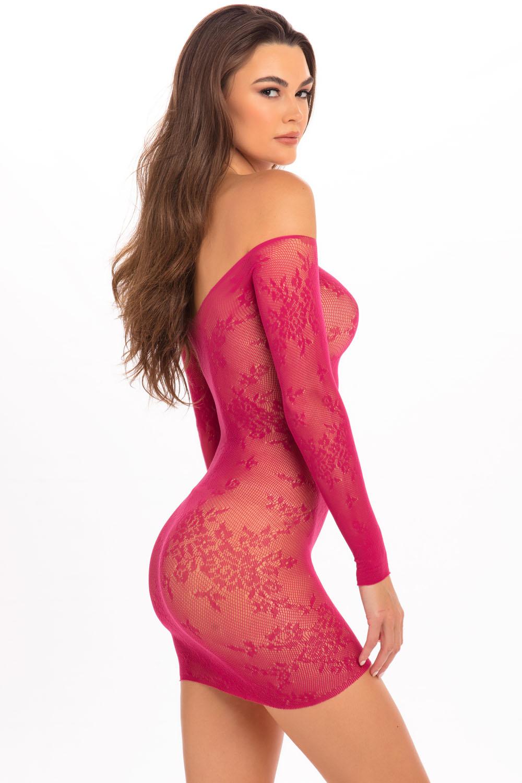 Open Season Off-Shoulder Mini Dress - Sangria - M/l