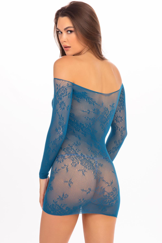 Open Season Off-Shoulder Mini Dress - Teal - S/m