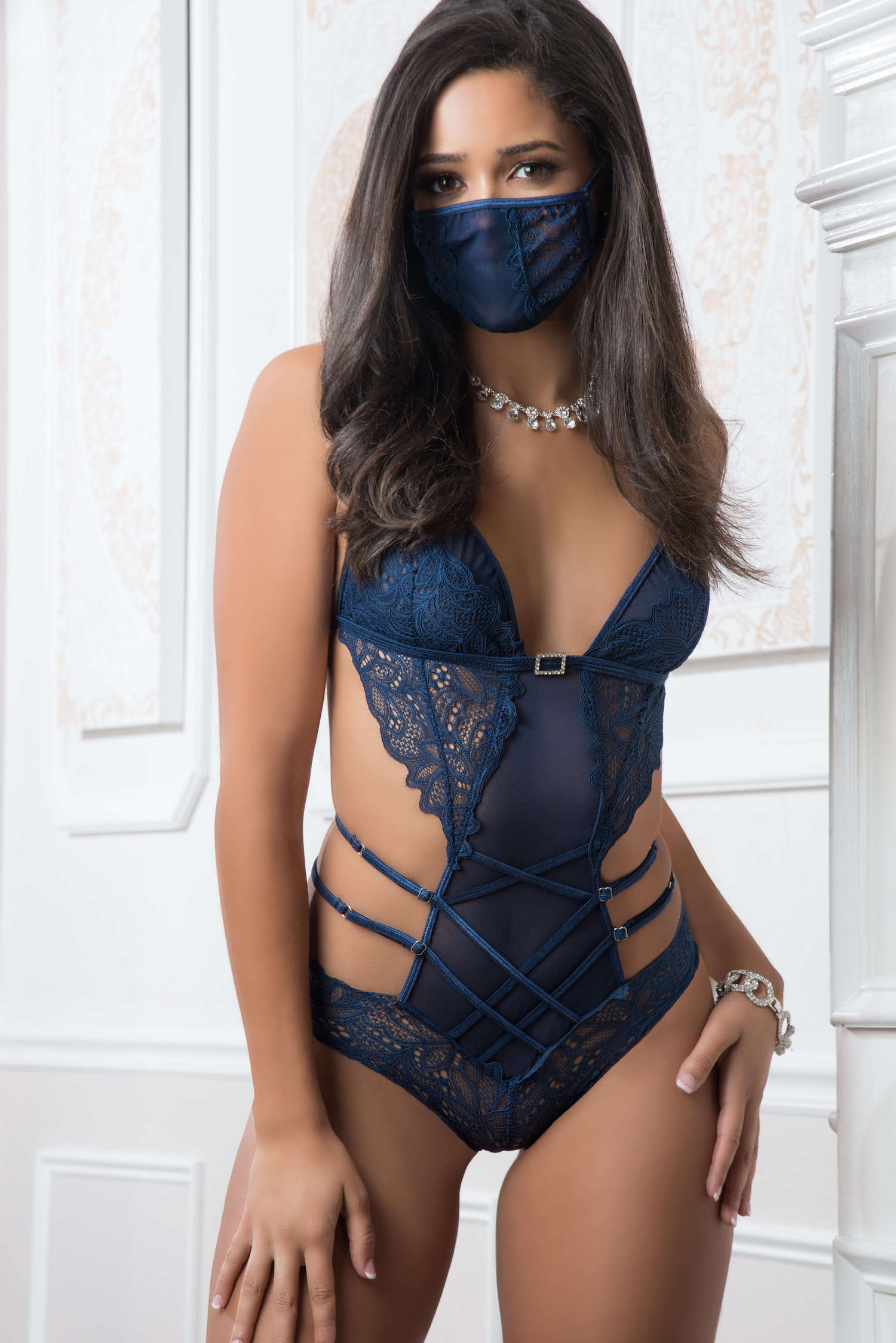2pc Mask Up Lace Teddy - One Size - French Blue