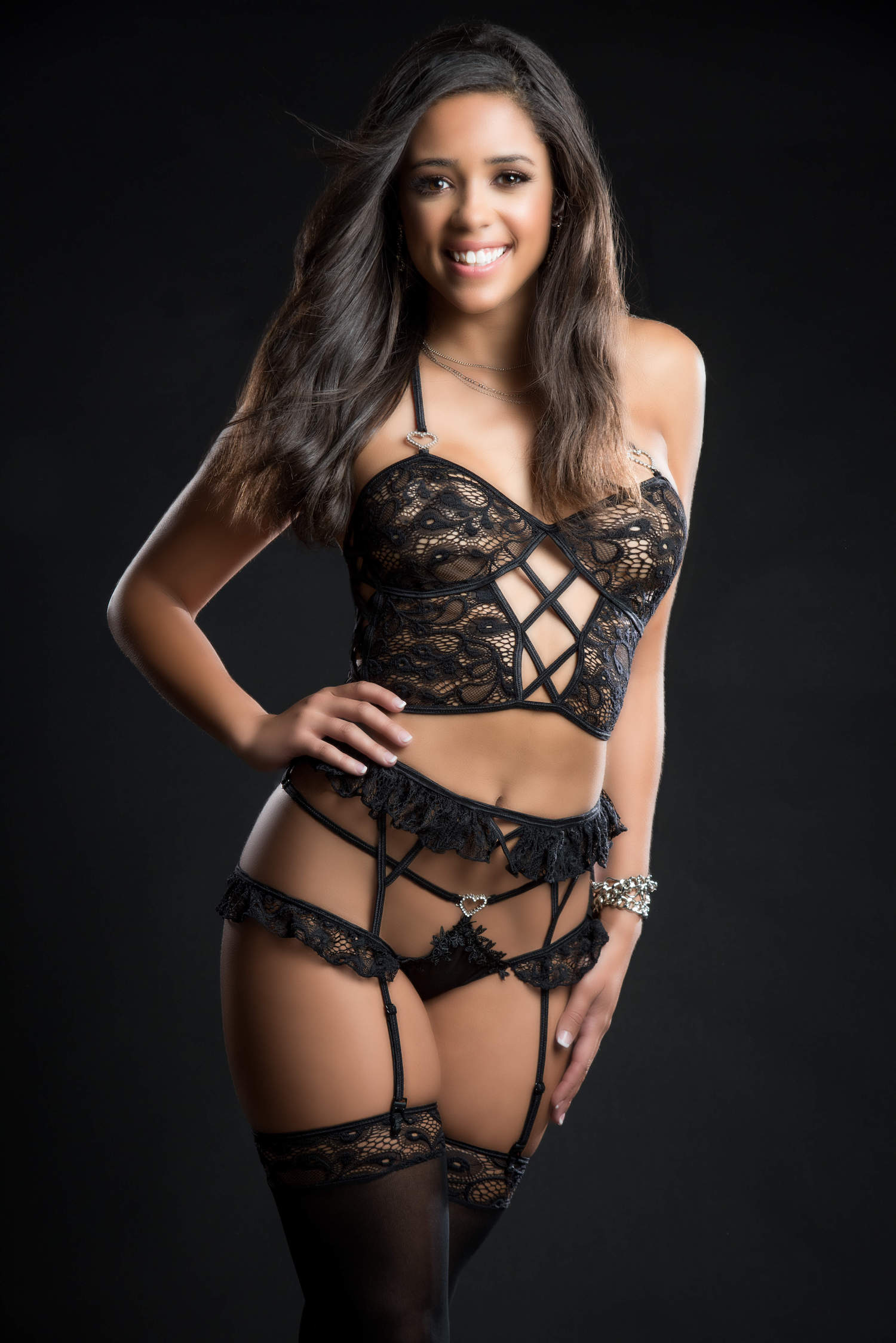 4pc Cami Top Lingerie Set With Ruffled Garter Belt and Stockings - One Size - Blackout