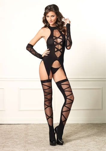 Lace Up Cami Garter Stockings and Gloves - One Size - Black